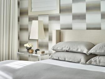 Gray Contemporary Bedroom With Wallpaper