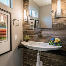 Amazing Reclaimed Wood Wall Adds Warm Focal Point To Bathroom Space