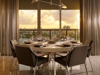 Brown Contemporary Dining Room With Sunset View