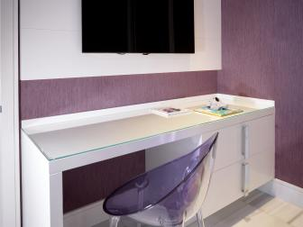 Purple Modern Workspace With Lucite Chair