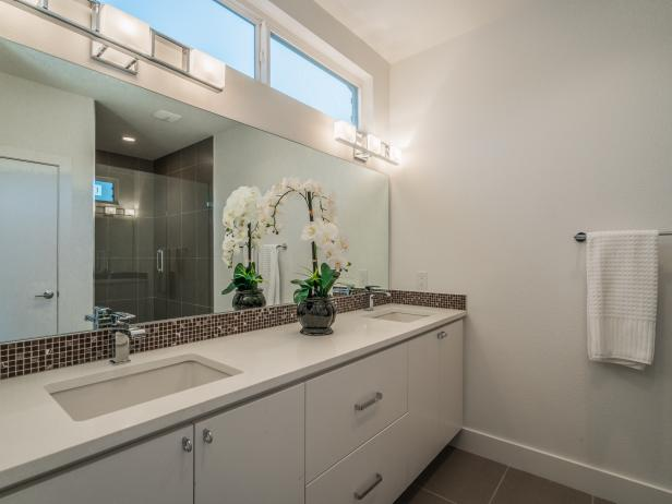 Modern Double Vanity Bathroom With Mosaic Tile Backsplash