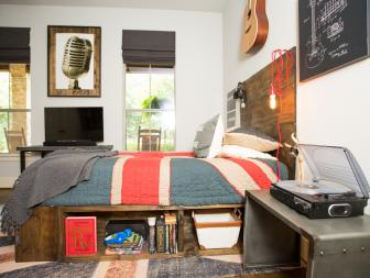 Music-Inspired Teen Bedroom With Built-In Underbed Shelving