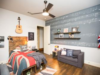 Music-Inspired Teen Bedroom With British Flag Decor