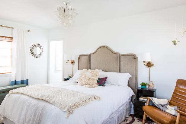 Serene Master Bedroom With Neutral Upholstered Headboard