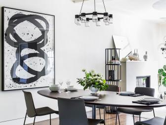 Black and White Contemporary Dining Room With Art