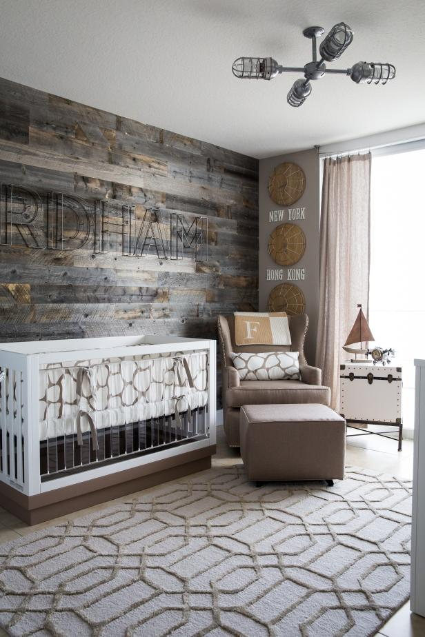 Gray Contemporary Nursery With White Crib, Driftwood Accent Wall