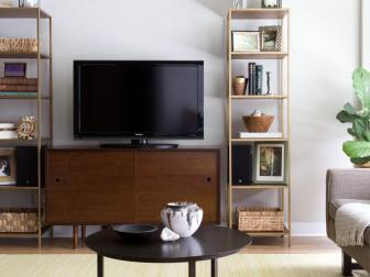Light and Bright Living Room With Midcentury Modern Media Console