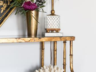 Gold Shelf With Palm Tree Table Lamp