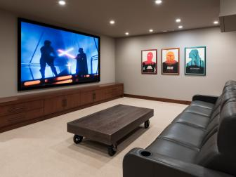 Contemporary Home Theater is Relaxing, Comfortable