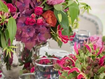 Bold Pink and Orange Tabletop Floral Arrangements