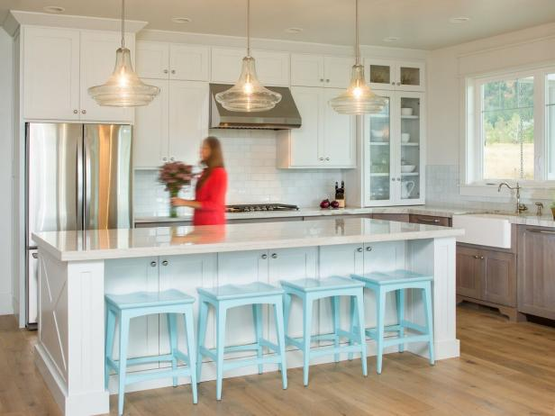 Transitional White Kitchen With Robin's Egg Blue Countertop Stools
