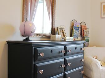 Upcycled Black Dresser with Pink Crystal Drawer Pulls