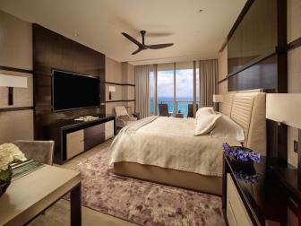 Brown Contemporary Bedroom With Ocean View