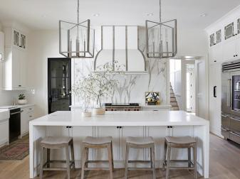 White Transitional Open Plan Kitchen With Barstools