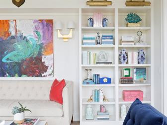 Multicolored Eclectic Library With Blue Chair