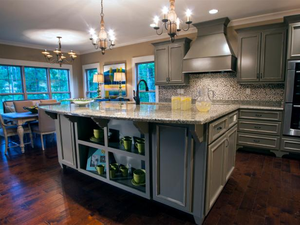 Gray Transitional Kitchen with Huge Island, Vent Hood and Three Chandeliers