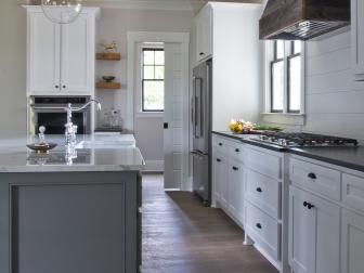 Rustic Casual Farmhouse Kitchen with Wood Vent Hood
