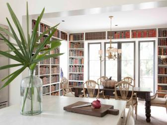 Warm Open Kitchen with Built-in Bookcases