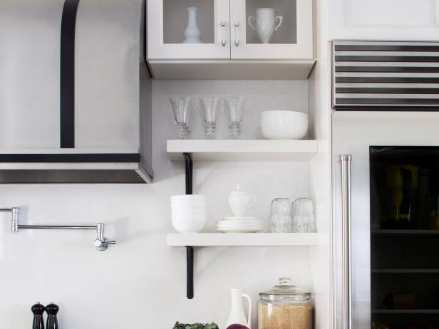 Modern Black and White Kitchen with Open Shelves
