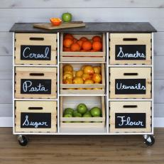diy rolling kitchen island using crates and pallet wood