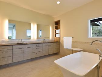Neutral Spa Bathroom With Wood Vanity