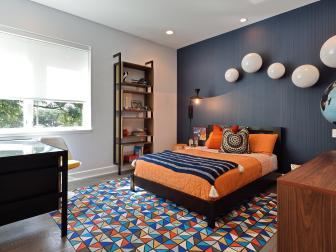 Multicolored Contemporary Bedroom With Orange Bed