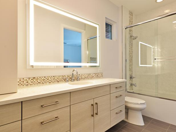 White Contemporary Bathroom With Mosaic Tiles
