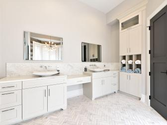 Clean White, Transitional Bathroom With Double Vanities