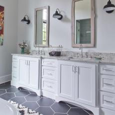 Modern Farmhouse Bathroom With White Vanity And Hexagon Tile