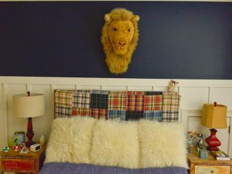 Kid's Navy and White Bedroom with DIY Quilt Headboard
