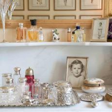 antique bathroom decor with silver collection