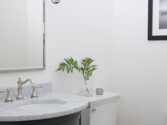 Contemporary Small Bathroom with Marble Curved Vanity
