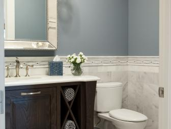 Soothing Blue and White Tile Bathroom with High-end Vanity