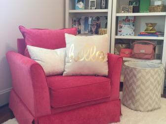 After: Raspberry Chair in a Girl's Bedroom