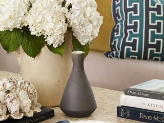 Gorgeous Vase of White Hydrangeas Decorates Living Room Coffee Table