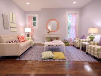 Lively Gray Living Room With Multicolored Accents