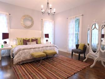 Light and Bright Master Bedroom With Purple and Green Accents