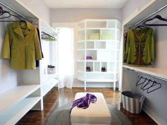 Walk-In Women's Closet With Ample Shelving and Hanging Room