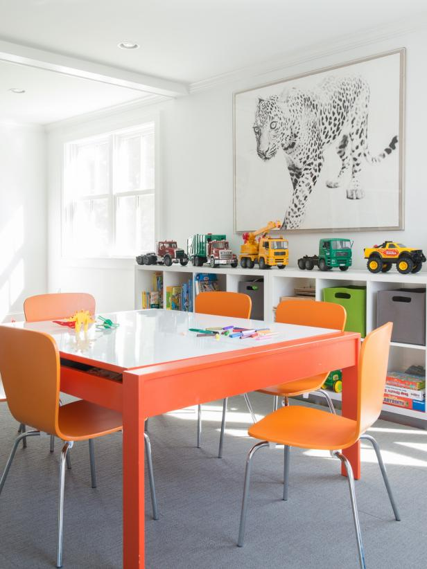 Modern Orange Table and Cube Storage in Boys' Playroom