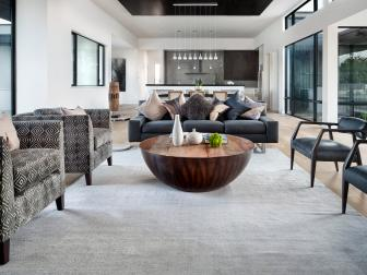 Black and White Living Room in Modern Living Room