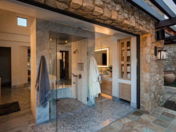 Master Bathroom's Walk-In Shower Connected to Outdoors