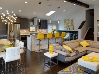 Black, Gray and Yellow Contemporary Great Room