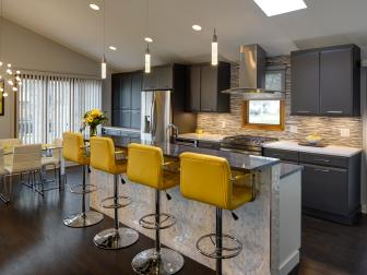 Black and Yellow Contemporary Kitchen and Dining Room