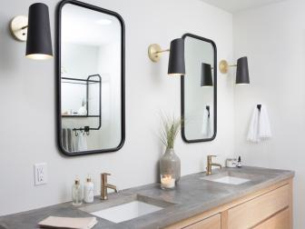 Modern Black and White Double Vanity Bathroom