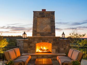 Stone Fireplace at Rustic Outdoor Space