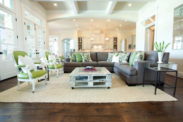 White Transitional Living Room With Green Chairs