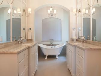 White Spa Bathroom With Clawfoot Tub