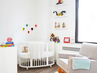 White Contemporary Nursery With Balloon Mobile