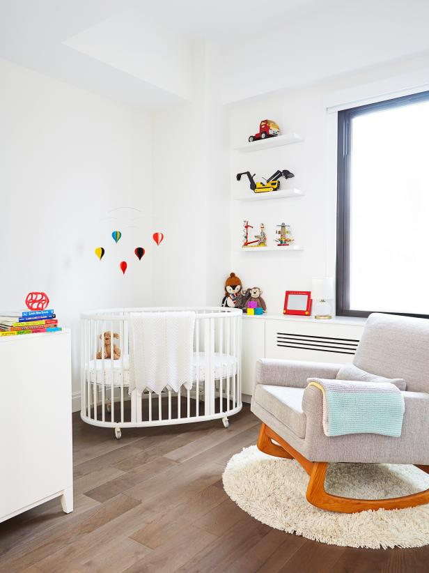 White Contemporary Nursery With Balloon Mobile