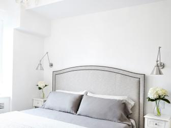 Gray and White Small Master Bedroom